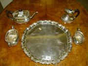 Silver Tray & Tea Service